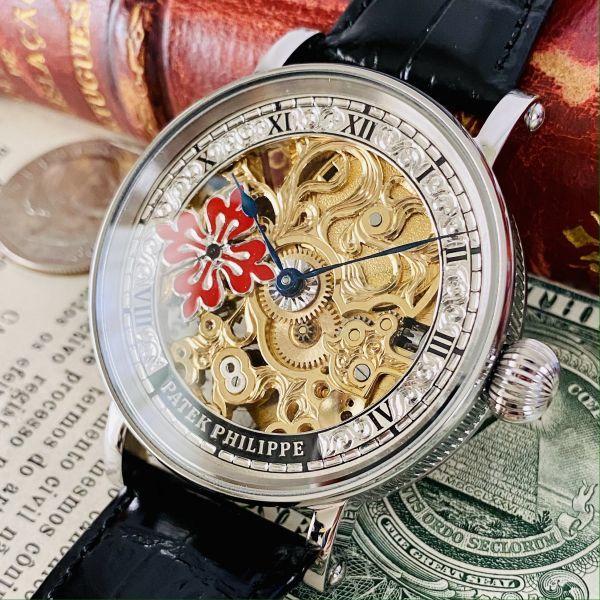 ★OH済★パテックフィリップ 彫金 スケルトン15石 手巻き 腕時計 アンティーク ビンテージ メンズ 高級 ゴールド 動作良好 豪華 スモセコ_画像1