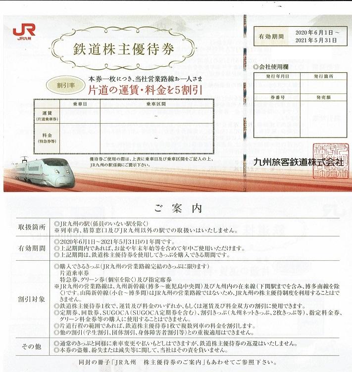 ♪JR九州 株主優待割引券 2021/5/31迄★2枚+高速船割引券2枚+500円×10枚 _画像1