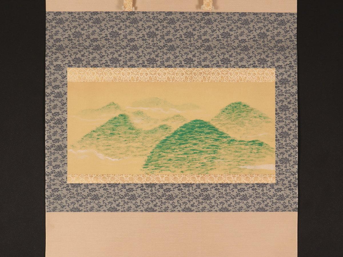 【模写】【伝来】藤井達吉特集 mz2112〈藤井達吉〉青緑山水図 栗木伎茶夫極箱 工芸家 図案家 愛知の人