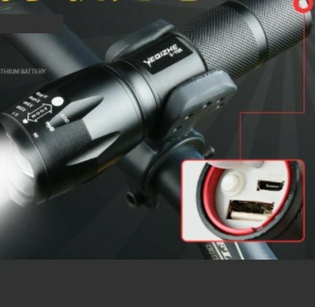 ホルダー&USBケーブル付★懐中電灯 led 強力USB充電式 防水 緊急携帯