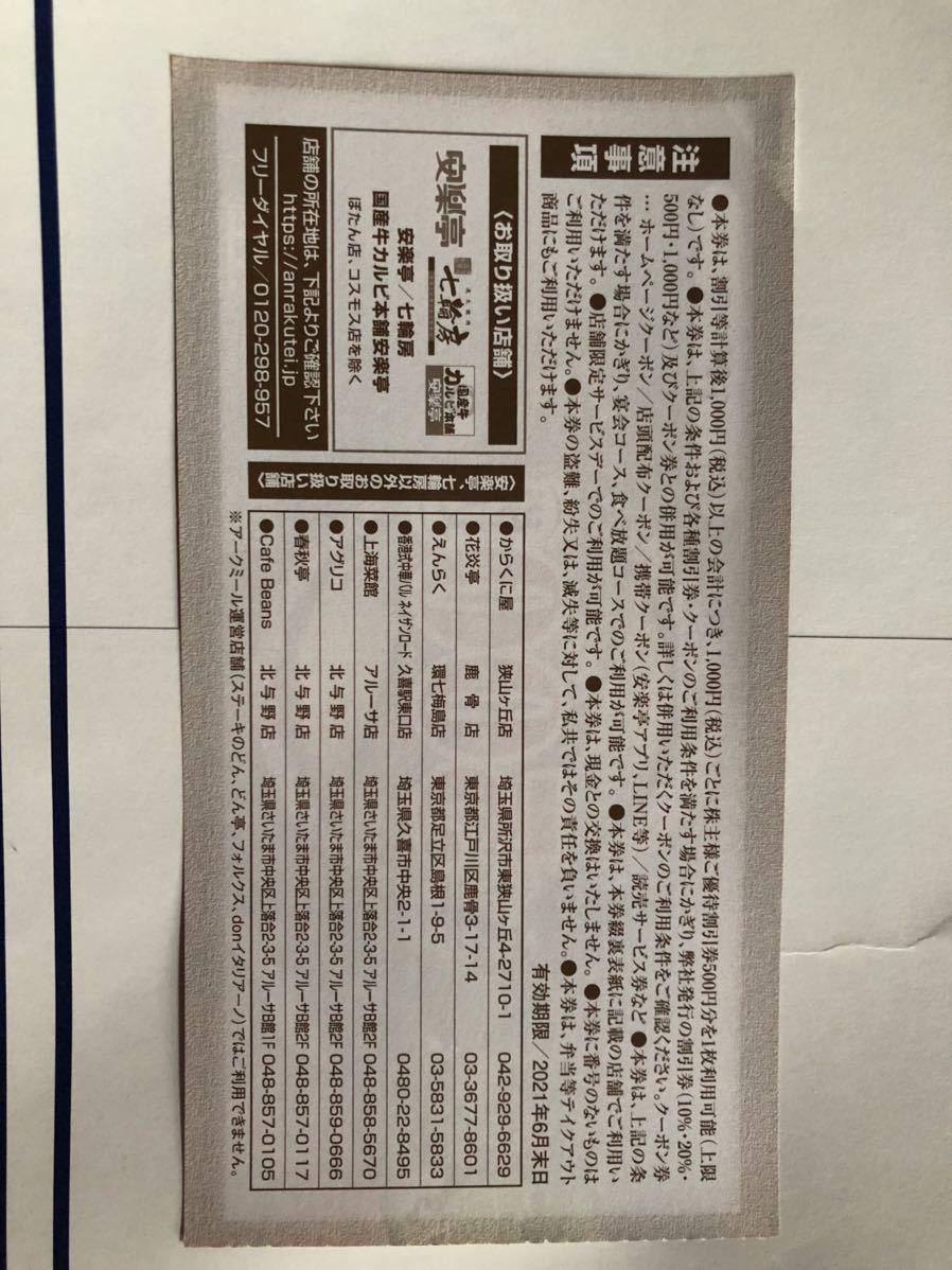安楽亭株主優待券500円券×26枚プラス10%割引券3枚_画像3