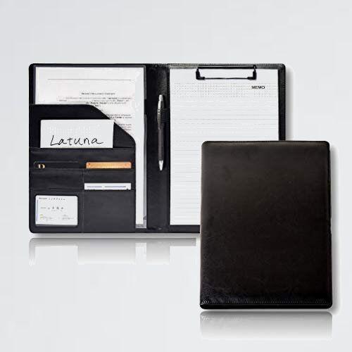 新品 未使用 バインダ- 【Latuna】 6-Y7 (ブラック, PUレザ-) A4 革 クリップボ-ド ギフト 贈り物 PU 高級感 クリップ ファイル_画像1