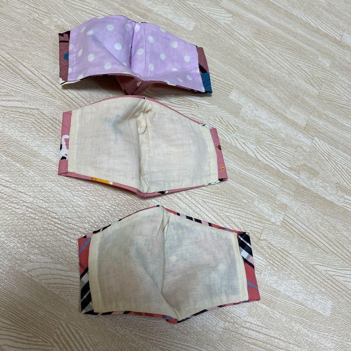 インナーガーゼ インナーカバー チェック柄ピンク 花柄 猫柄 cat 春 立体 NO.5 立体 カジュアル 収納ポケット付