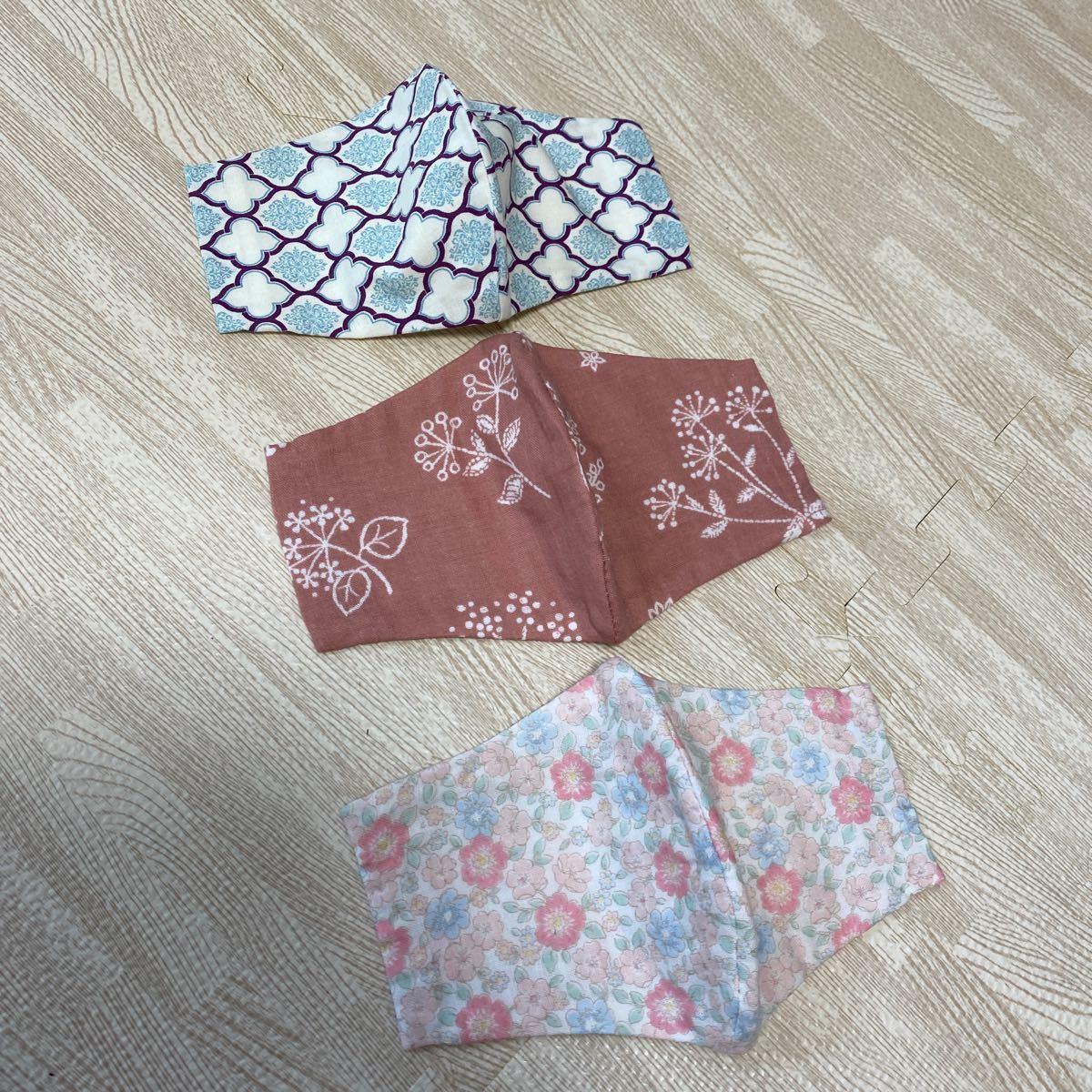 ハンドメイド インナーガーゼ インナーカバー 立体 花柄 柔らか かわいい ポケット収納付きデザイン ピンク はぎれ布付 NO10