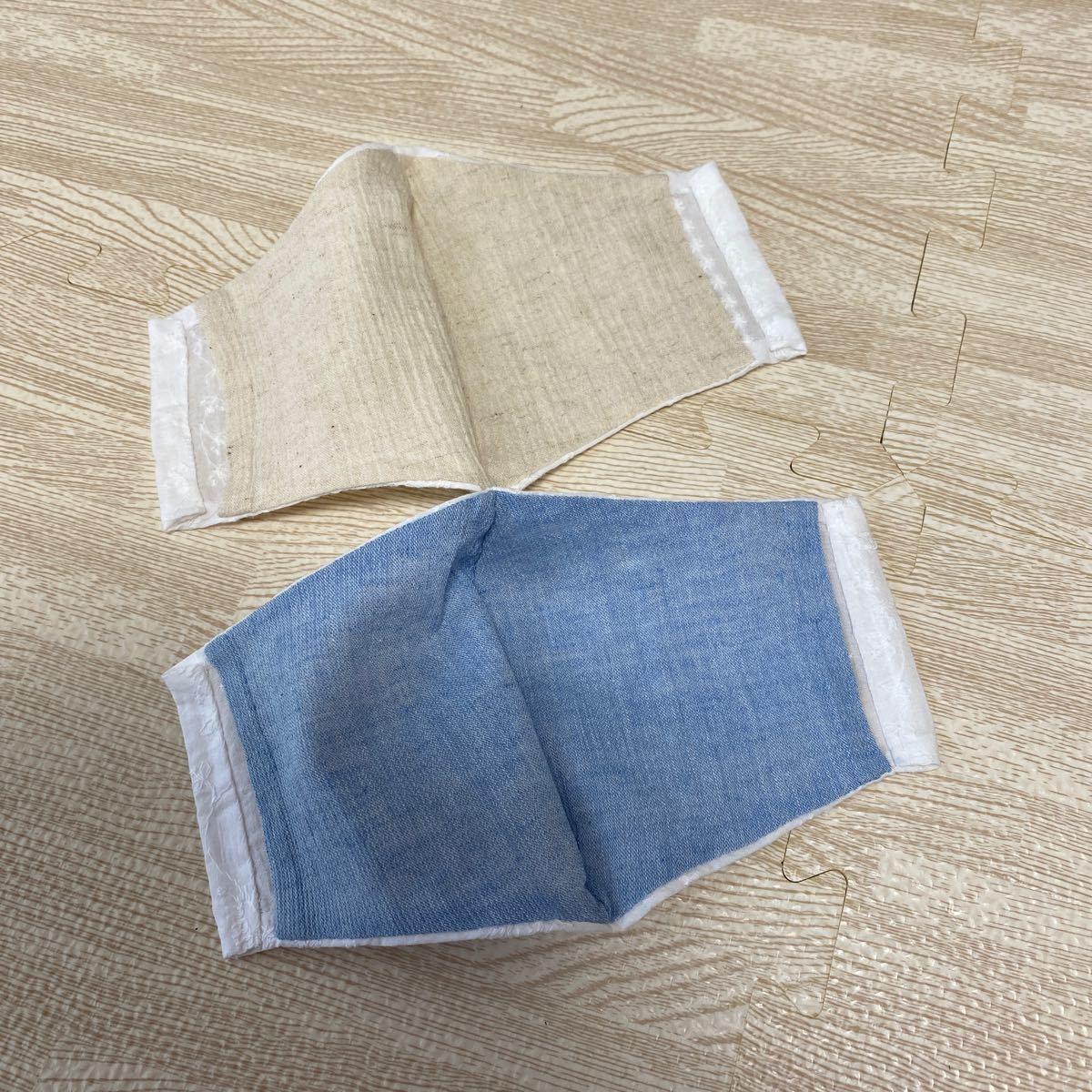ハンドメイド インナーカバー インナーシート 薄手 麻 綿 涼しい素材 刺繍 ナチュラル2枚 収納ポケット付きはぎれ布付 NO31