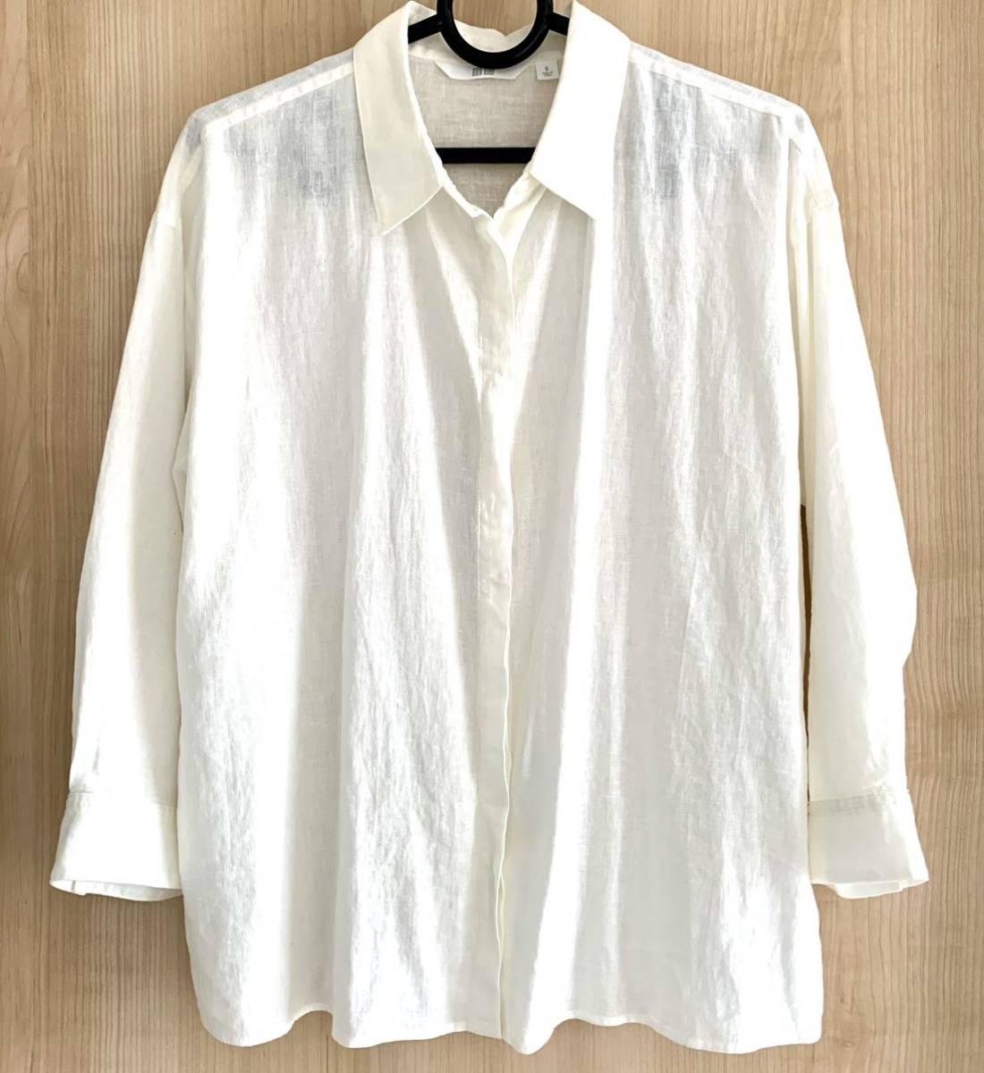 ユニクロ リネンブレンドシャツ 白 ホワイト_画像1