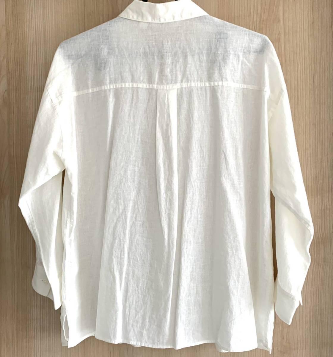 ユニクロ リネンブレンドシャツ 白 ホワイト_画像2