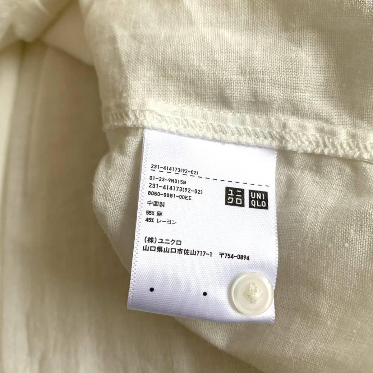 ユニクロ リネンブレンドシャツ 白 ホワイト_画像3