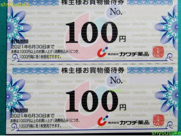 カワチ薬品 株主優待券100円券50枚綴り1冊(5,000円分)_画像2