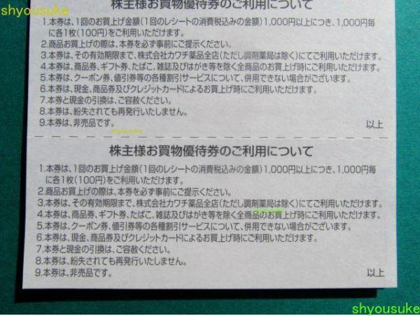 カワチ薬品 株主優待券100円券50枚綴り1冊(5,000円分)_画像3
