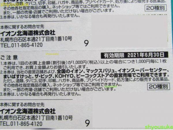イオン北海道株主優待券25枚綴り1冊2,500円分(マックスバリュ) 有効期限2021年6月30日 まいばすけっと ザ・ビッグ_画像3
