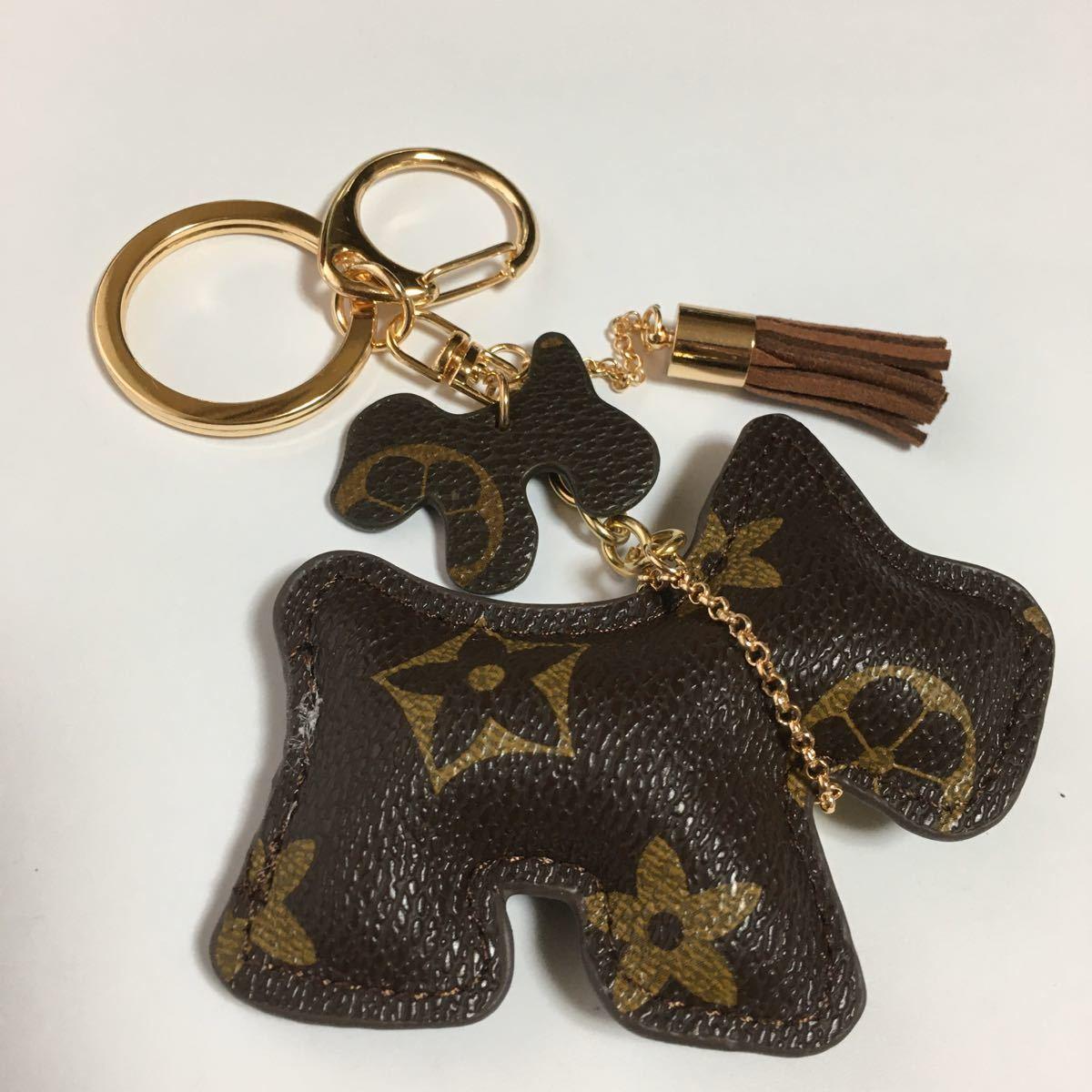 新品PUレザー犬のキーホルダー/ブラウンフラワー/キーリング/キーチェーン/チャーム