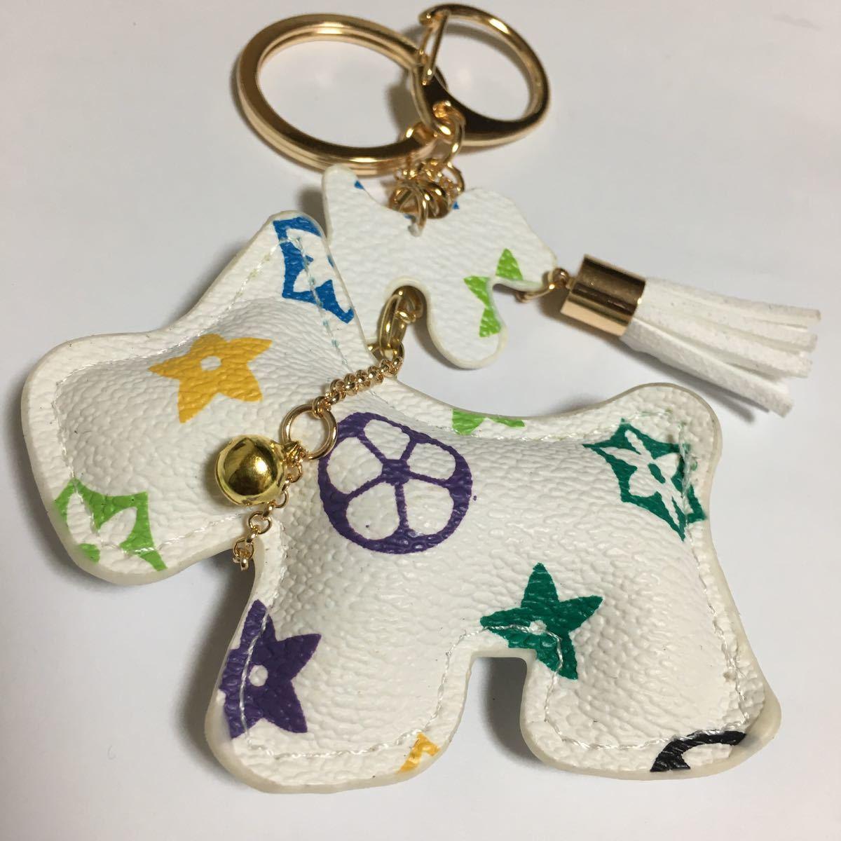 新品PUレザー犬のキーホルダー/ホワイトフラワー/キーリング/キーチェーン/チャーム