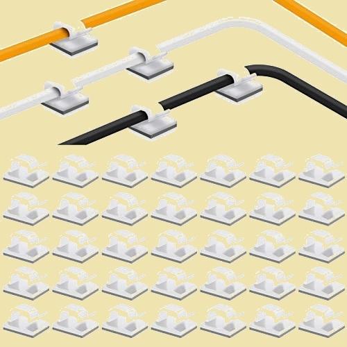 在庫残りあと僅か 35pack ケ-ブルクリップ 7-L1 by MAVEEK コ-ドクリップ ケ-ブルホルダ- コ-ドフック 配線 収納 接着ワイヤ-コ-ド_画像1