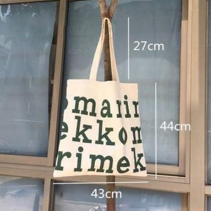 マリメッコ ロゴ トートバッグ ネイビー Marimekko 大きめ 大容量