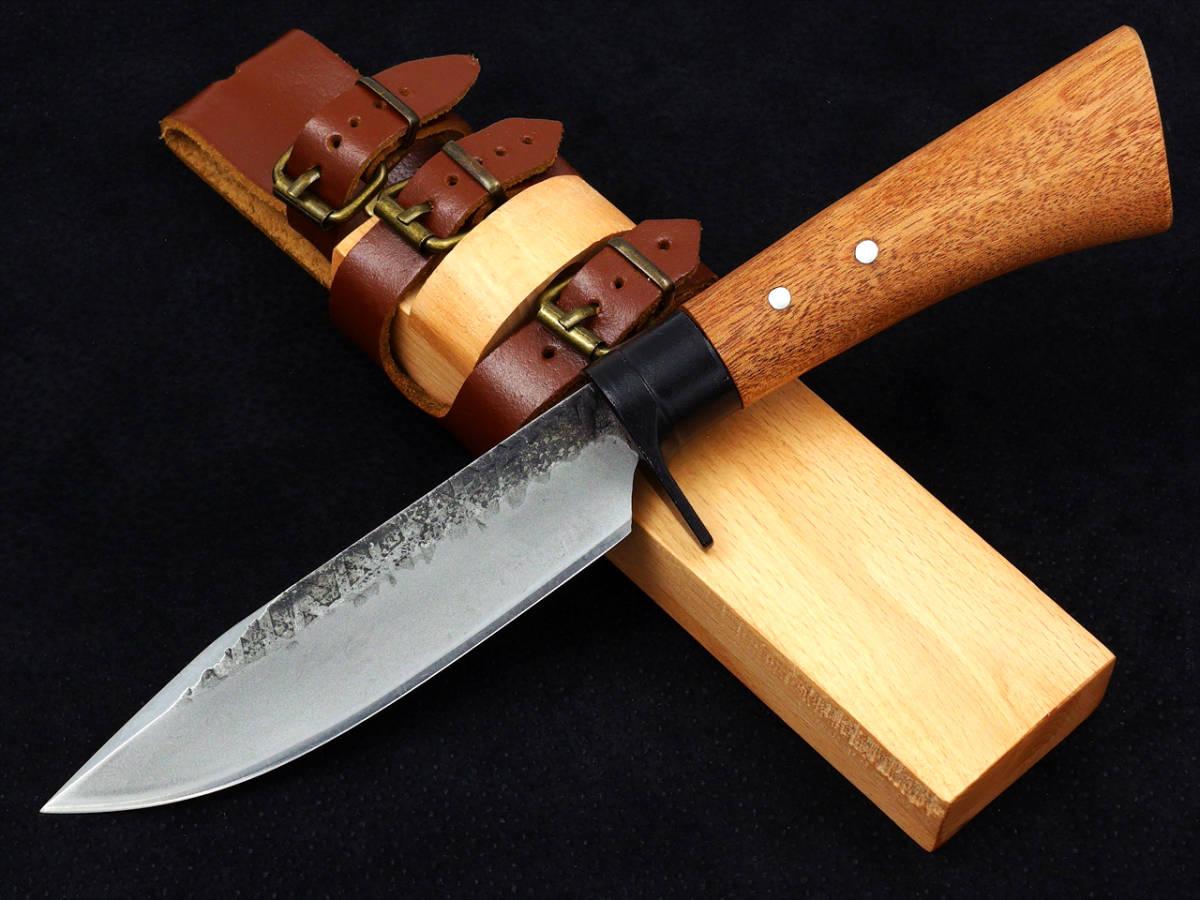 ☆鍛造ハンティングナイフ 剣鉈 炭素鋼 5.5mm厚ブレード 天然ウッドシース CBF5000