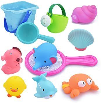 ◇☆□お風呂 おもちゃ Bacolos おふろ 水遊びおもちゃ シャワー プール おもちゃ 11点セット 噴水 音出す動物 漁網_画像1