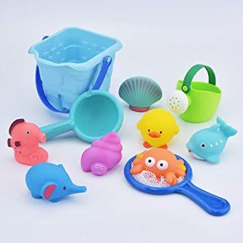 ◇☆□お風呂 おもちゃ Bacolos おふろ 水遊びおもちゃ シャワー プール おもちゃ 11点セット 噴水 音出す動物 漁網_画像5