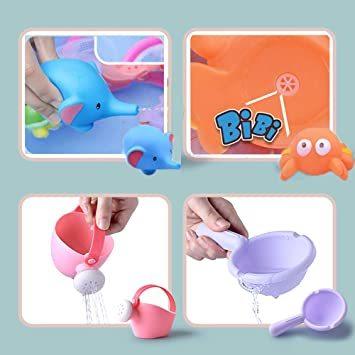 ◇☆□お風呂 おもちゃ Bacolos おふろ 水遊びおもちゃ シャワー プール おもちゃ 11点セット 噴水 音出す動物 漁網_画像2