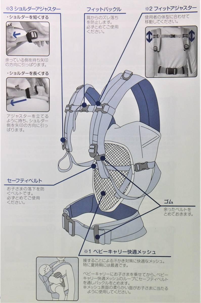 新品本物即決 日本製 ミキハウス MIKI HOUSE ベビーキャリー インナーパッド 出産準備セット 対面抱っこ紐おんぶ紐 45-6007-840黒_画像7