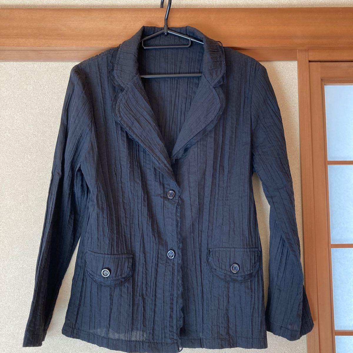 ジャケット 夏物 黒 レース付き  テーラードジャケット