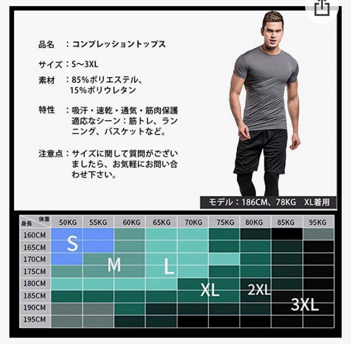 コンプレッション ウェア メンズ 半袖 パワーストレッチ アンダー スポーツ シャツ [UVカット + 吸汗速乾]