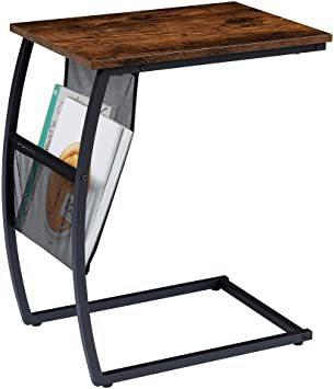 ヴィンテージ EKNITEY サイドテーブル ソファ ナイトテーブル コ字型 広い天板 パソコン コーヒーテーブル 多機能 省ス_画像1