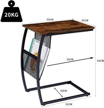 ヴィンテージ EKNITEY サイドテーブル ソファ ナイトテーブル コ字型 広い天板 パソコン コーヒーテーブル 多機能 省ス_画像6