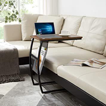 ヴィンテージ EKNITEY サイドテーブル ソファ ナイトテーブル コ字型 広い天板 パソコン コーヒーテーブル 多機能 省ス_画像3