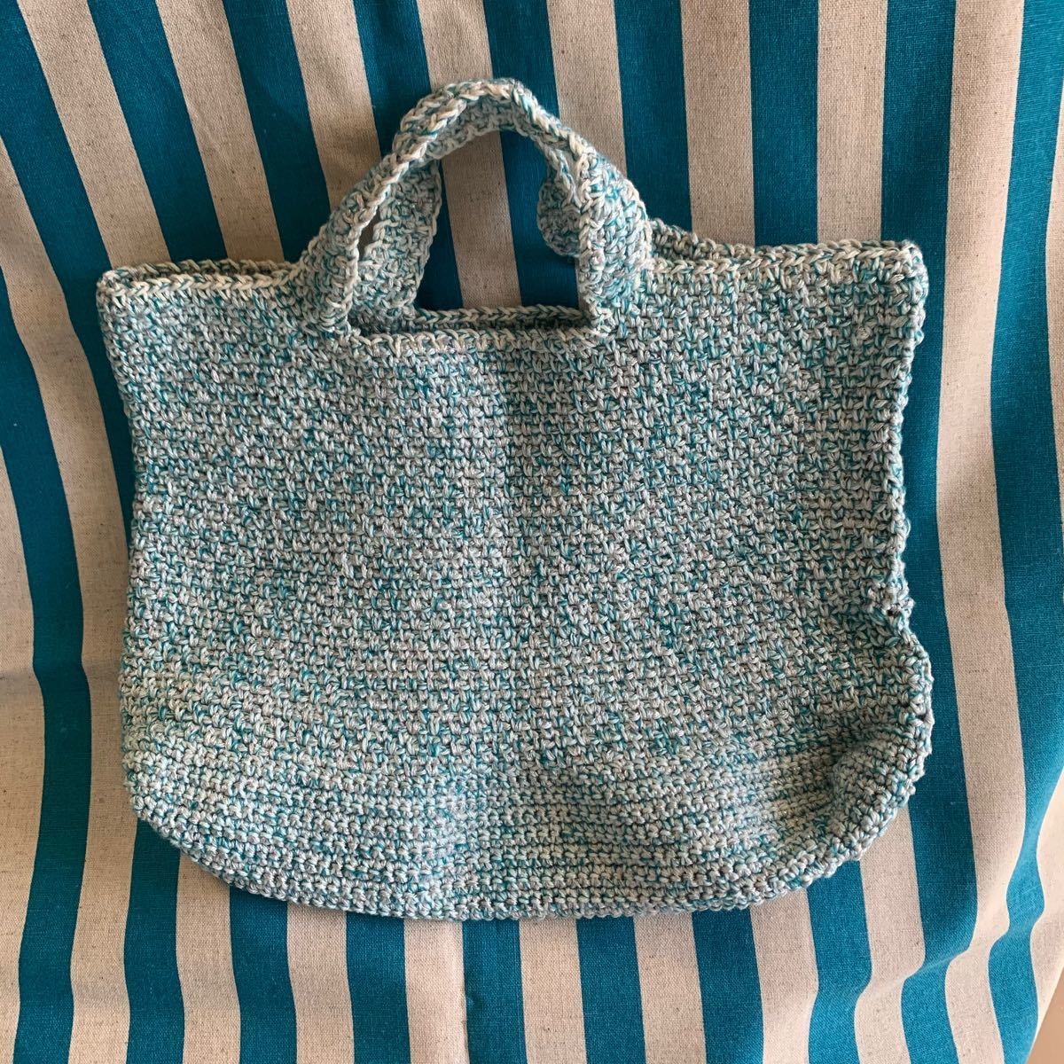 マイバッグ お弁当バッグ ちょっとそこまでバッグ 手作り(水色系)
