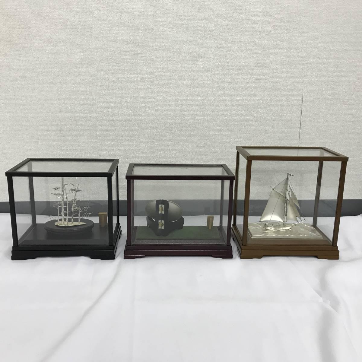 【1円スタート】A777494-11 純銀製 竹 船 杯 置物 工芸品