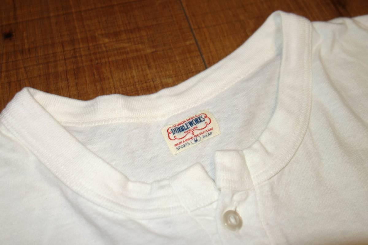 送料370円■ウエアハウスDUBBLE WORKSヘンリーネック長袖Tシャツ白M/CINCY/WAREHOUSE/買取キング_画像3