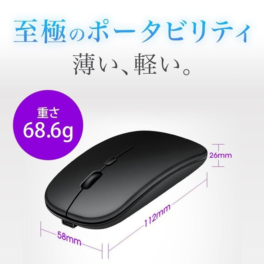 inphic ワイヤレスマウス 無線マウス バッテリー内蔵 充電式 薄型 光学式 高精度 持ち運び便利