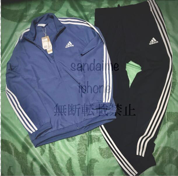 新品 正規品 【メンズLサイズ】ブルー×ネイビー adidas アディダス 上下セット ジャケット パンツ セットアップ ロゴ刺繍 水色 紺 薄手