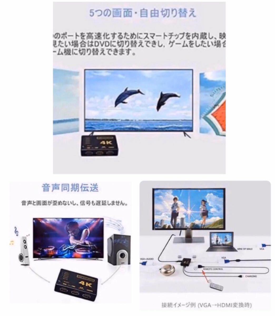 HDMI セレクター 5入力1出力 分配器+HDMIケーブル1.5m×4本