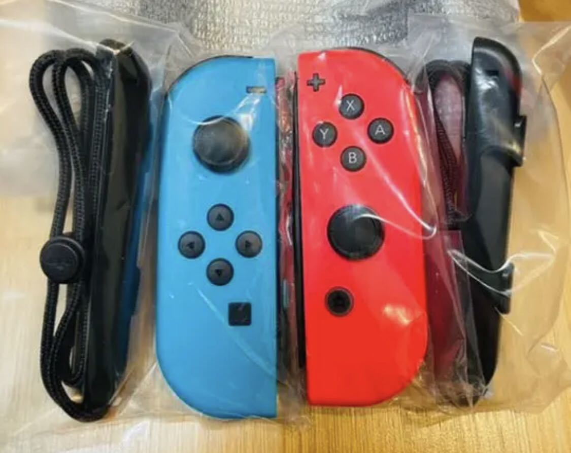 新品 未開封 任天堂 Nintendo Switch Joy-Con R L ジョイコン 右 左 レッド 赤 ブルー 青 未使用 ニンテンドースイッチ ストラップ セット_画像1