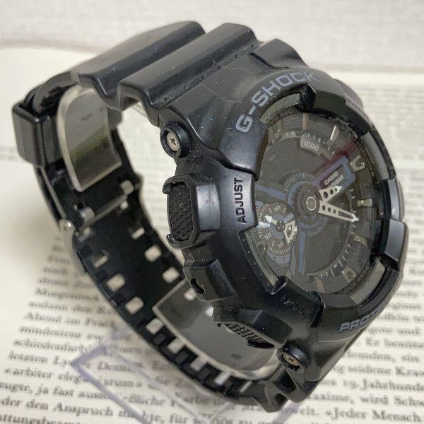 ★CASIO G-SHOCK デジアナ 多機能 メンズ 腕時計 ★ カシオ G-ショック GA-110 アラーム クロノ タイマー ブラック 稼動品 F3830_画像3