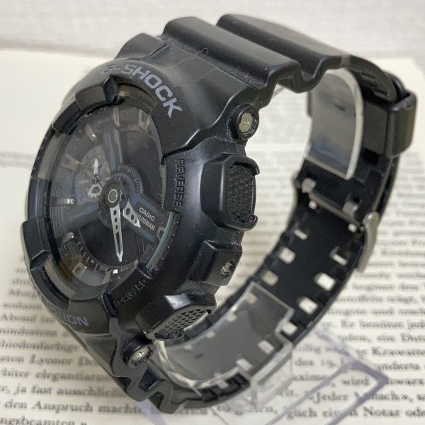 ★CASIO G-SHOCK デジアナ 多機能 メンズ 腕時計 ★ カシオ G-ショック GA-110 アラーム クロノ タイマー ブラック 稼動品 F3830_画像2
