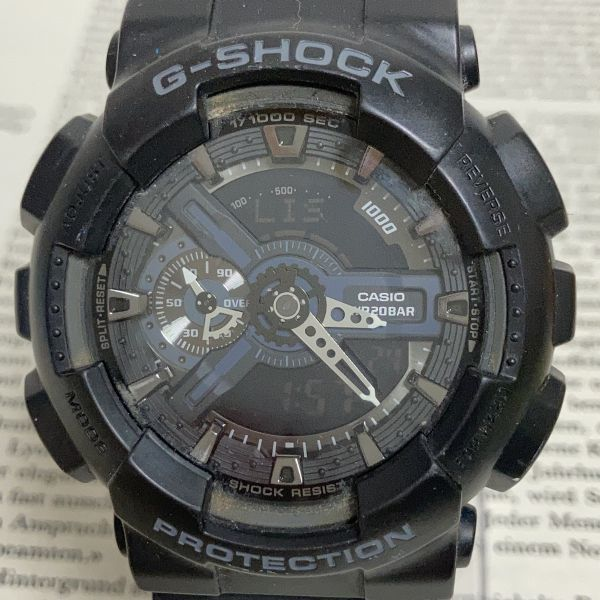 ★CASIO G-SHOCK デジアナ 多機能 メンズ 腕時計 ★ カシオ G-ショック GA-110 アラーム クロノ タイマー ブラック 稼動品 F3830_画像4