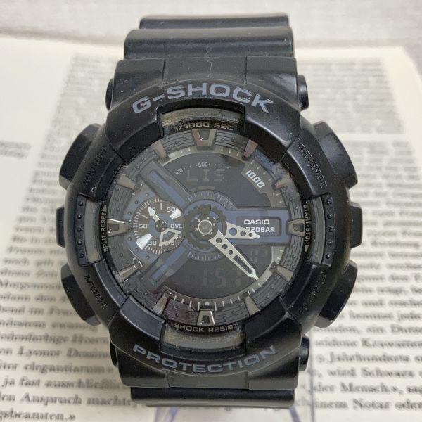 ★CASIO G-SHOCK デジアナ 多機能 メンズ 腕時計 ★ カシオ G-ショック GA-110 アラーム クロノ タイマー ブラック 稼動品 F3830_画像1