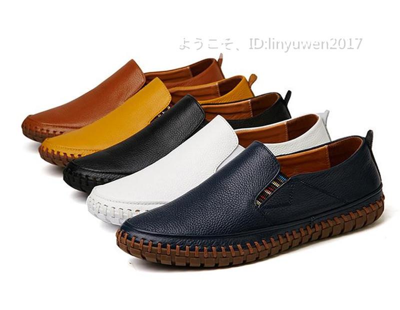 スリッポン 新品*メンズ ローファー ドライビングシューズ 紳士靴 カジュアル 滑り止め 柔らかい 通学 ネイビー 24.5cm_画像6