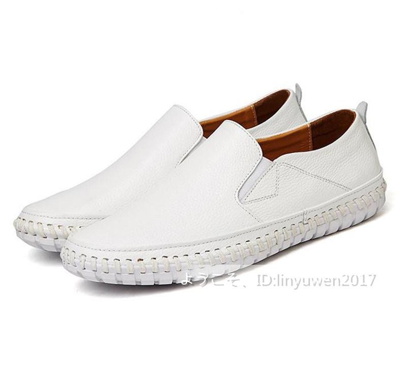 スリッポン 新品*メンズ ローファー ドライビングシューズ 紳士靴 カジュアル 滑り止め 柔らかい 通学 白 24.5cm_画像5