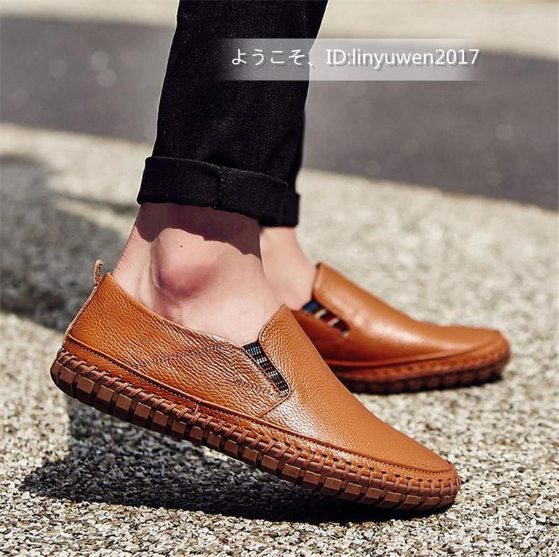 スリッポン 新品*メンズ ローファー ドライビングシューズ 紳士靴 カジュアル 滑り止め 柔らかい 通学 ブラウン 24.5cm_画像2