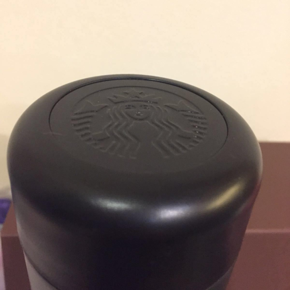スターバックスマットブラックステンレスボトル スクリューレザーストラップラック 黒 お洒落 箱入り プレゼントに最適