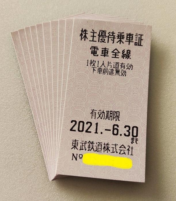 東武鉄道 株主優待乗車証 電車全線 10枚セット 2021.6.30まで 乗車券 切符_画像1