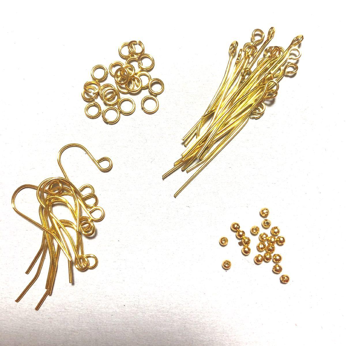 ハンドメイド 基礎パーツセット 初心者向け 素材 材料 ゴールドカラー アクセサリー アクセサリーパーツ