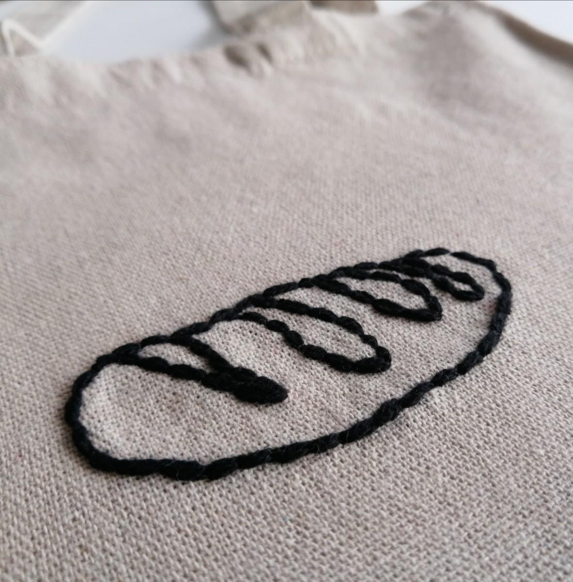 ハンドメイド 黒いパン 手縫いの刺繍 縦長トートバッグ ショルダーバッグ