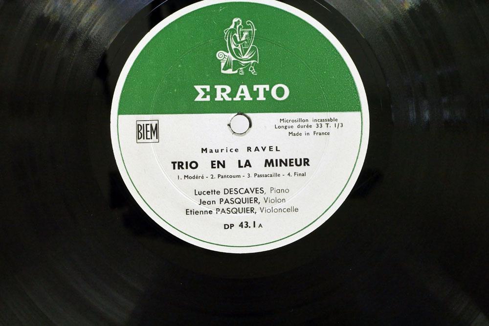 仏 竪琴フラット盤 リュセット・デカーヴ,パスキエ/ラヴェル ピアノ三重奏曲/ERATO DP 43. 1_画像3