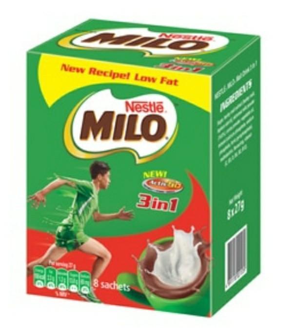 香港直送品 / Nestle Milo 3 In 1 Nutritious Malt Drink 栄養機能食品 カルシウム 朝食 牛乳 ココア ネスレ ミロ◆27g * 8個入り _画像1