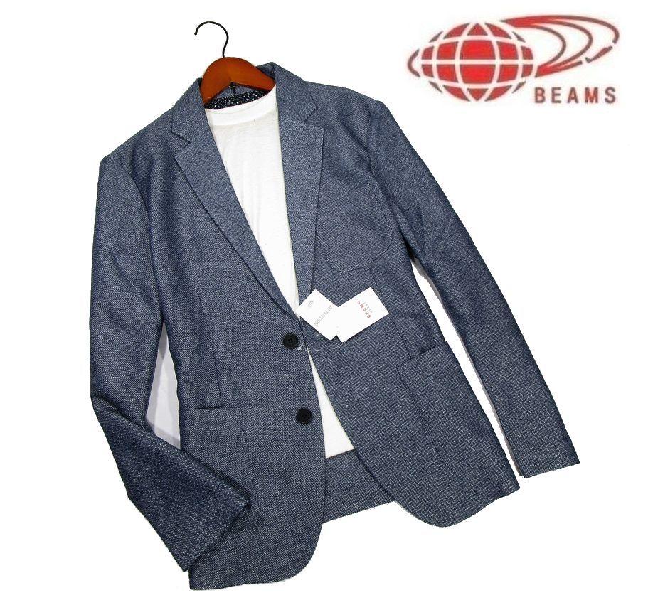 ◆D399 新品 ビームス BEAMS サマーテーラードジャケット 【L】ネイビー 背裏花柄 メランジ調 カラミ織り